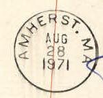 Amherst 1971 PO Stamp