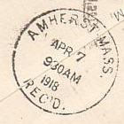 Amherst PO Stamp 1918 RECvd