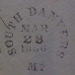 SOUTH DANVERS 1856 PO Stamp