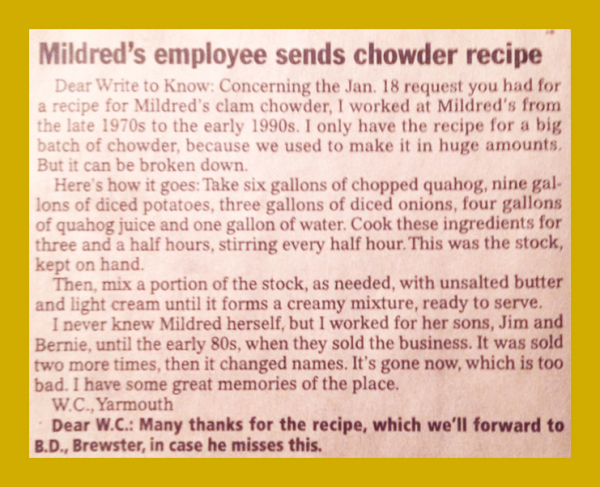 mildreds chodwer recipe