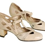 1920s Beige Leather strap Heels Women's Shoe