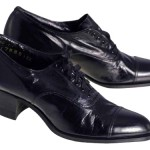 Black Leather Cap-Toe Women's Shoe