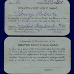 Boston Braves Knothole Gang Card 1948