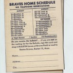 Boston Braves Pocket Schedule