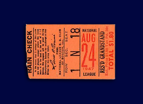Boston Braves Ticket Stub 1947