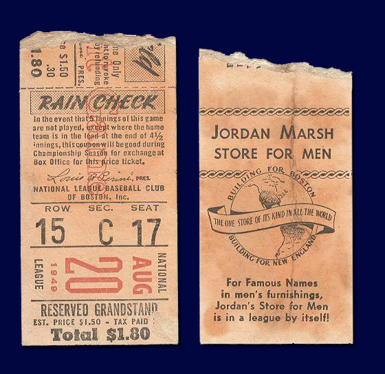 Boston Braves Ticket Stub 1949