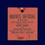 Braves Field - 1952 - Baseball Press Box Pass