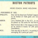 1964 - Boston Patriots - Reverse of Team Picture Card - 1963 Team Leaders