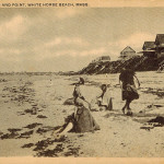 PLYMOUTH MA ~ MANOMET ~ BATHERS & COTTAGES WHITE HORSE BEACH ~ C. 1920